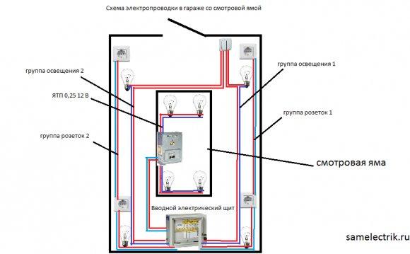 Схема электропроводки в гараже